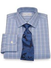 Non-Iron 2-Ply 100% Cotton Glen Plaid Button Down Collar Trim Fit Dress Shirt