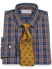 Non-Iron 2-Ply 100% Cotton Broadcloth Plaid Spread Collar Trim Fit Dress Shirt