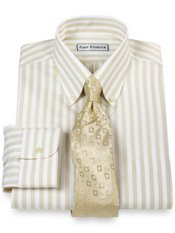 Non-Iron 2 Ply 100% Cotton Pinpoint Bengal Stripe Button Down Collar Dress Shirt