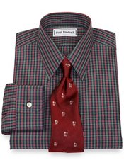 Non-Iron 2-Ply 100% Cotton Broadcloth Windowpane Straight Collar Dress Shirt
