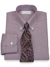 Non-Iron 2-Ply 100% Cotton Houndstooth Button Down Collar Trim Fit Dress Shirt
