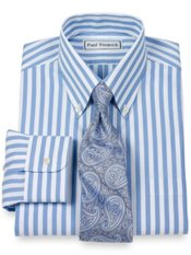 Non-Iron 2 Ply 100% Cotton Pinpoint Stripe Button Down Collar Trim Fit Dress Shi
