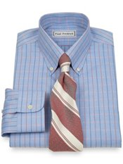 Non-Iron 2 Ply 100% Cotton Pinpoint Windowpane Button Down Dress Shirt