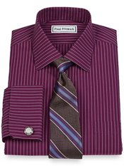 Non-Iron 2-Ply Cotton Fine Line Stripe Spread Collar French Cuff Dress Shirt