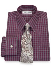 Non-Iron 2-Ply Broadcloth Windowpane Straight Collar Trim Fit Dress Shirt