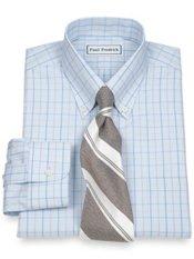 Non-Iron 2 Ply 100% Cotton Windowpane Button Down Collar Trim Fit Dress Shirt