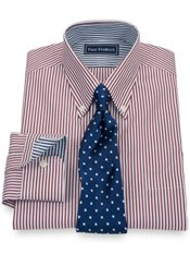 2-Ply Cotton Stripe Button Down Collar Trim Fit Dress Shirt