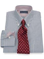 2-Ply Cotton Stripe Button Down Collar Dress Shirt