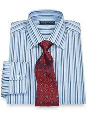 100% Cotton Twill Stripe Spread Collar Dress Shirt