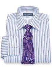 100% Cotton Twill Shadow Stripe Spread Collar Dress Shirt