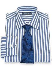 100% Cotton Bold Stripe Spread Collar Dress Shirt
