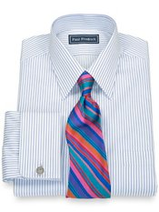 100% Cotton Fine Line Stripe Straight Collar French Cuff Trim Fit Dress Shirt