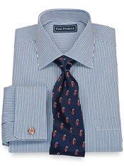 100% Cotton Bengal Stripe Spread Collar French Cuff Dress Shirt