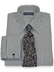 100% Cotton Bengal Stripe Straight Collar French Cuff Dress Shirt
