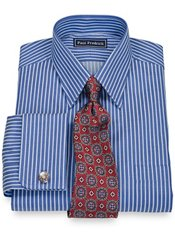 100% Cotton Textured Stripe Straight Collar French Cuff Dress Shirt
