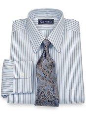 100% Cotton Alternating Stripe Straight Collar Dress Shirt
