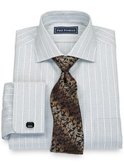 Long Staple Cotton Mini Check Cutaway Collar, French Cuffs