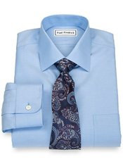 Non-Iron 2-Ply 100% Cotton Solid Twill Spread Collar Dress Shirt