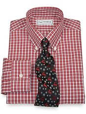Non Iron Broadcloth Gingham Button Down Collar, Button Cuffs