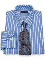 100% Cotton Stripe Straight Collar Trim Fit Dress Shirt