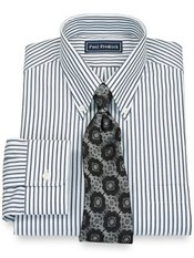 100% Cotton Bengal Stripe Button Down Collar Trim Fit Dress Shirt
