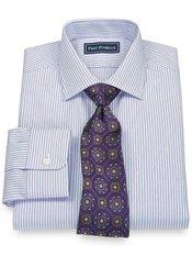 100% Cotton Twin Stripe Jermyn Street Collar Trim Fit Dress Shirt