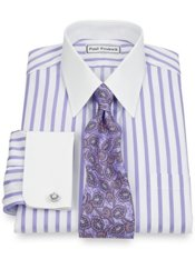 Non-Iron 2-Ply 100% Cotton Satin Stripe Straight Collar French Cuff Dress Shirt