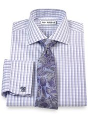 Non-Iron 2-Ply 100% Cotton Tattersall Cutaway Collar French Cuff Dress Shirt