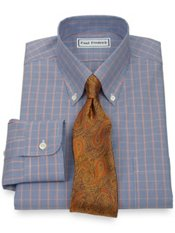 Non-Iron 2-Ply 100% Cotton Pinpoint Button Down Collar Trim Fit Dress Shirt