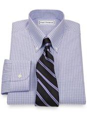 Non-Iron 2-Ply 100% Cotton Broadcloth Check Button Down Collar Dress Shirt