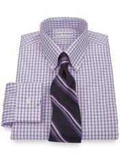Non-Iron 2-Ply 100% Cotton Broadcloth Grid Button Down Collar Dress Shirt