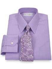 Non-Iron 2-Ply 100% Cotton Broadcloth Stripe Straight Collar Dress Shirt