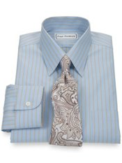 Non-Iron 2-Ply 100% Cotton Pinpoint Twin Stripe Straight Collar Dress Shirt