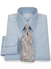 Non-Iron 2-Ply 100% Cotton Pinpoint Twin Stripe Straight Collar Dress Shirt