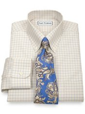 Non-Iron 2-Ply 100% Cotton Broadcloth Button Down Collar Trim Fit Dress Shirt