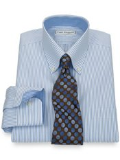 Non-Iron 2-Ply 100% Cotton Pinpoint Fine Line Button Down Collar Dress Shirt