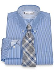 Non-Iron 2-Ply 100% Cotton Pinpoint Button Down Collar Trim Fit Dress Shirt