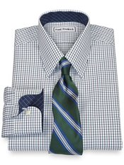 Non-Iron 2-Ply 100% Cotton Pinpoint Check Straight Collar Trim Fit Dress Shirt