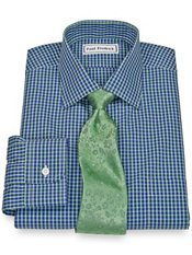 Non-Iron 2-Ply 100% Cotton Broadcloth Check Spread Collar Trim Fit Dress Shirt