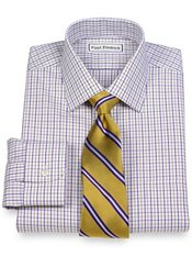 Non-Iron 2-Ply 100% Cotton Pinpoint Check Spread Collar Trim Fit Dress Shirt