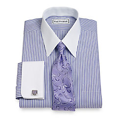 Non-Iron 2-Ply 100 Cotton Broadcloth Straight Collar French Cuff Dress Shirt $30.00 AT vintagedancer.com