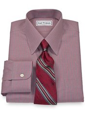 Non Iron Broadcloth Mini Check Straight Collar, Button Cuffs