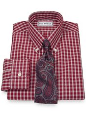 Non-Iron 2-Ply 100% Cotton Broadcloth Large Grid Button Down Collar Dress Shirt