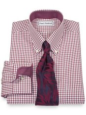 Non-Iron 2-Ply 100% Cotton Broadcloth Tattersall Button Down Collar Dress Shirt