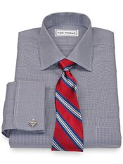 Non-Iron 2-Ply 100% Cotton Houndstooth Spread Collar French Cuff Dress Shirt