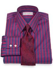 Non-Iron 2-Ply 100% Cotton Satin Stripe Straight Collar Trim Fit Dress Shirt