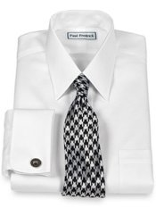 Non-Iron 2-Ply Cotton Check Straight Collar French Cuff Trim Fit Dress Shirt