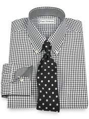 Non Iron Broadcloth Tattersall Button Down Collar, Button Cuffs W/trim Details