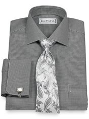 Non Iron Dobby Houndstooth Cutaway Collar, Mitered French Cuffs