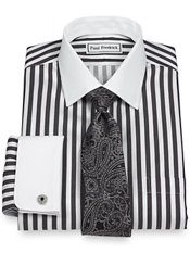 Non-Iron 2-Ply 100% Cotton Bold Stripe Spread Collar French Cuff Dress Shirt
